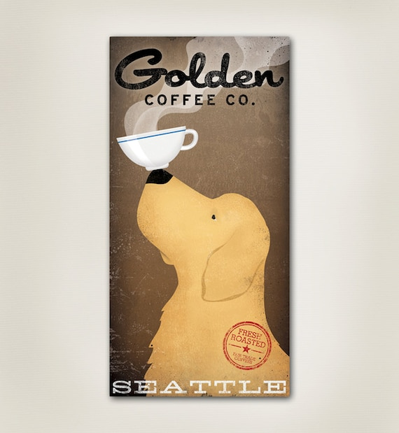 GOLDEN RETRIEVER Coffee Company Canvas Wall Art Choose Your Size Signed
