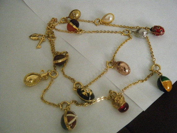 Vintage Necklace Joan Rivers Enamel Egg Charms