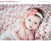 Inspired Vintage Shabby Chic Rhinestone Frayed Flower Rhinestone Center on Lace Stretch Headband- Newborn- Infant-