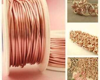Rose Gold Colored Wire - Enameled Coated Copper - 100% Guarantee - YOU Pick the Gauge 14, 16, 18, 20, 21, 22, 24, 26, 28, 30, 32