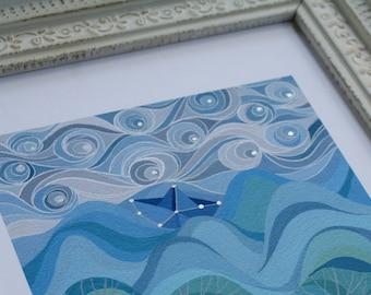 LARGE Wayfarer art print, paper boat on ocean with handpainted silver stars, nursery decor