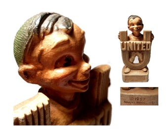 UNITED FUND Chalkware Elf  Mascot Award. Made by Multi Products 1957. Kitschy Kutie.