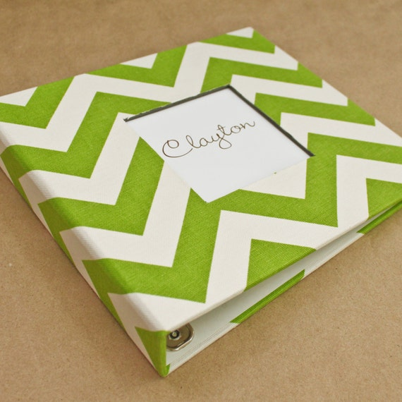 Baby Memory Book - Green and White Chevron (80 designed journaling pages & personalization included with every album)