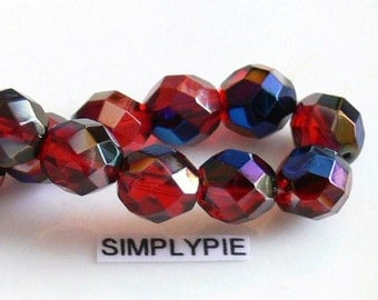 Ruby Red Azuro Fire Polished Czech Glass Beads 8mm Faceted 20