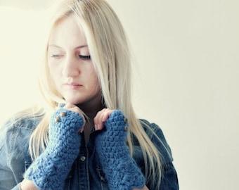 Blue Fingerless Gloves . crochet fingerless gloves . cozy winter gloves . texting gloves . womens driving gloves . cozy winter gloves. mitts