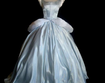 Princess Cinderella Costume Silver Misty Blue Ballgown Dress Custom Made Costume With Black velvet choker