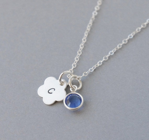 Flower Girl Necklace, Personalized initial necklace, Girl Necklace, Dainty Necklace, Custom Hand stamped Charm, Blue Sapphire Necklace Girls