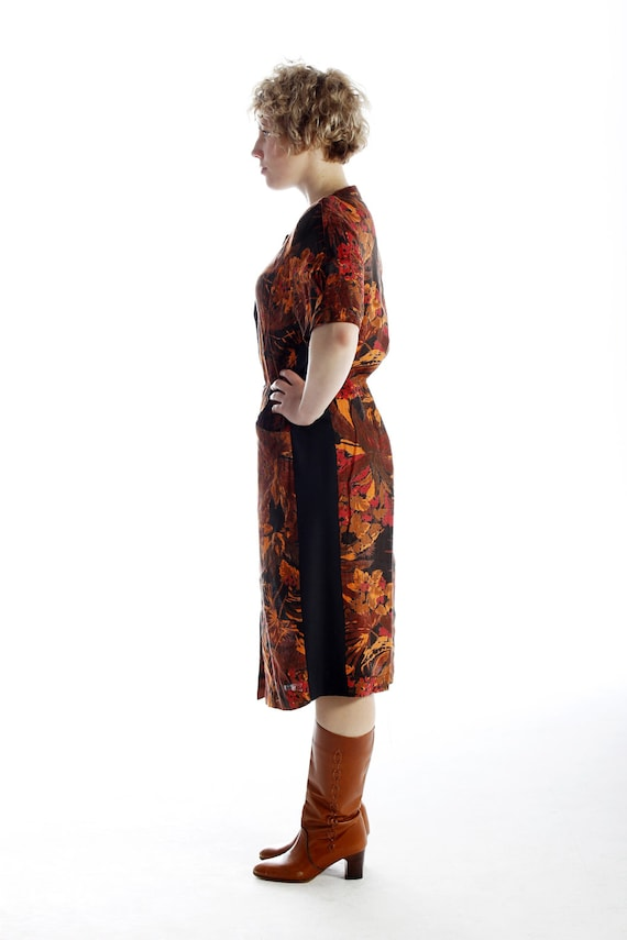 70s LINEN TROPICAL DRESS with black cotton siding