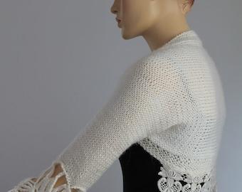 Hand Knitted  Crocheted Ivory  Wedding Shrug  Bolero 3/4 sleeved / Fall  Fashion /