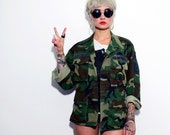 Army Green Camo Jacket Air Force Military Patches Grunge Women's X-Small Short