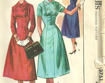 McCalls 3751 / Vintage 50s Sewing Pattern / Dress / Size 16 Bust 36
