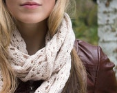 Knitted Autumn Cowl Infinity Loop Scarf - Rose Smoke