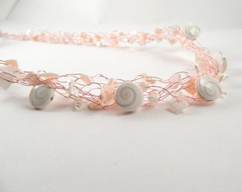 Shells on Rose Gold Wire Crochet Necklace, Sea Shell Necklace,  Crochet Wire Necklace