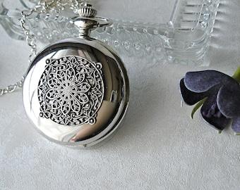 Pocket Watch Locket Necklace Set Silver Victorian Art Nouveau Filigree Romantic Gift for Her Unique Vintage Wedding Bride Maid Bridesmaid