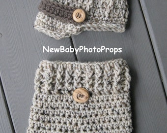 Newborn Baby Pants PHOTOGRAPHY  and Newsboy HAT - Set 2 pc - Longies Photo Prop Pants Oatmeal