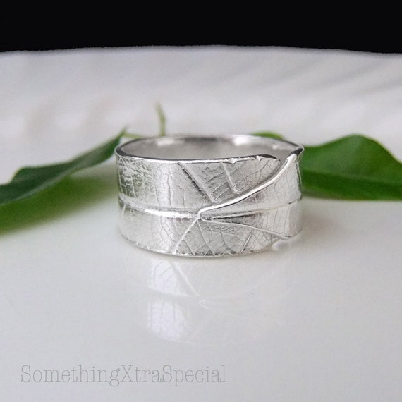 Silver Leaf Ring, Silver Wide Band Ring, Leaf Wrap Over Solid Silver Band Ring