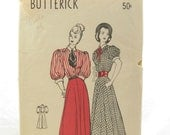 Butterick 4440 Rare 1940s Vintage Sewing Pattern Gibson Girl Shirtwaist Dress Bust 32