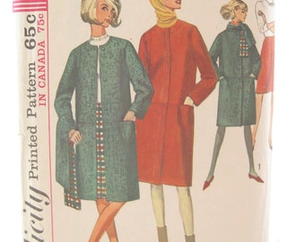 Simplicity 6169 1960s Long Winter Coat and Skirt Sewing Pattern Bust 34