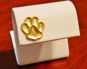 PAW PRINT Pin / Tie Tack: Dog Cat Lover Gift, Pet Lover, Dog Paw Print, Pet Jewelry, Men Women Gifts, Unisex, Brass; 3D, Rustic, Gift Boxed