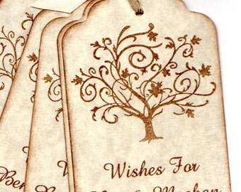 Wedding Tags, Wedding Wish Advice Tags, Wedding Favor Tags, Custom Personalized Elegant Fall Tree Wedding Tags  - Set of 50 Tags