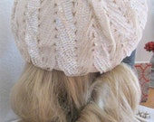 Vintage 40's Wool Sequined Hat Emporium California Eggshell Winter White Iridescent Pearl Bridal Boho