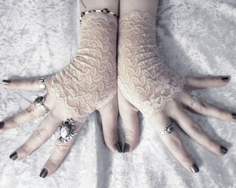 Idyll Lace Fingerless Gloves - Soft Nude Sand Tan Champagne Cream Floral - Wedding Gothic Regency Bridal Goth Austen Fetish Bridesmaid