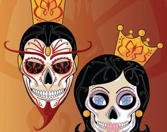 Mighty Monarch & Dr. Mrs. Monarch Sugar Skull Print 11x14 print