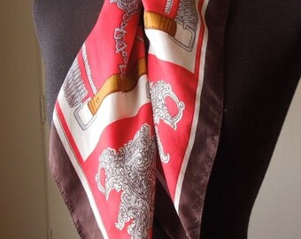 RICH GIRL...Equestrian Theme Vintage Scarf, 80's, Red, Brown, Gray, White, Horse Theme, Silk.