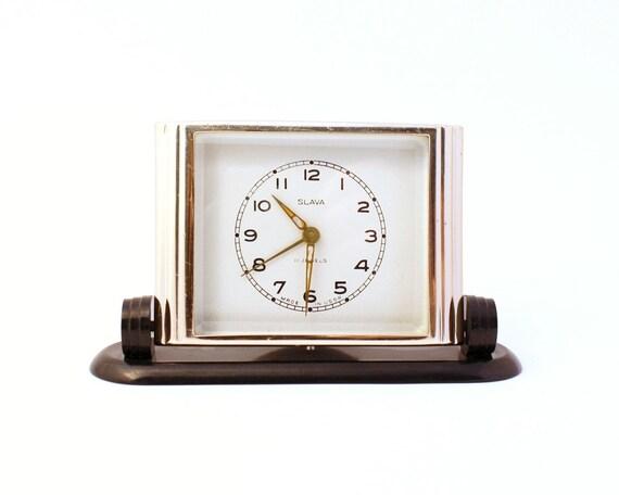 Vintage Russian mechanical alarm clock SLAVA from Soviet Union RARE