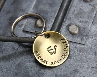 Custom New Baby Keychain in Brass - Personalize with Name & Birthdate