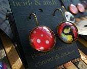 Hand Drawn Brass Loop Earrings-Asymmetrical-Mismatch-Red-White-Polkadots-Yellow-Blue-Black-Bird