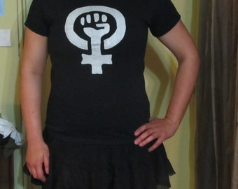 Feminist Shirt - Feminist Fist White Print on Black TShirt, Large - punk tshirt radical woman power reproductive rights