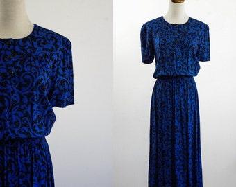 Vintage Abstract Dress -- 80s Blue and Black Short Sleeve Dress -- Medium