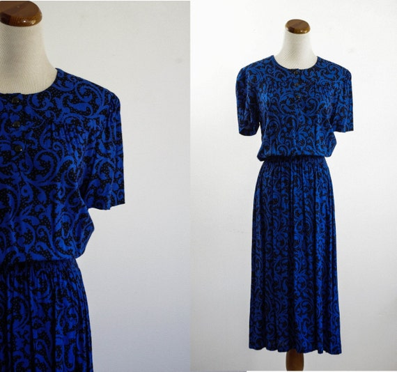Vintage Abstract Dress -- 80s Blue and Black Short Sleeve Dress -- Medium