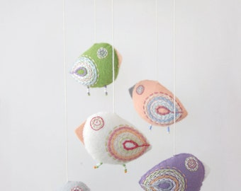 baby mobile pastel birds for nursery