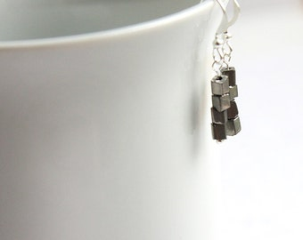 Summer Party Gift Minimal Earrings Silver Earrings Stacked Modern Geometric Industrial Dangle Earrings Tiny Small Petite Gray Grey Metallic