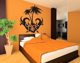 Vinyl Wall Decal Sticker Hibiscus with Palm Tree OSAA266B