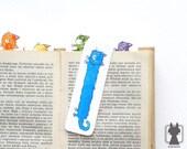 Cat bookmark - blue cat - hand painted paper bookmark - rainbow feline