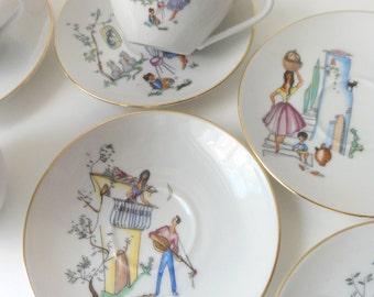 Vintage Mid Century Demitasse Coffee Cup Teacup Set Heinrich & Co. Bavaria