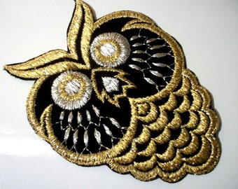 Classy Owl  Applique Patch Gold Silver Black Machine Embroidery Designs