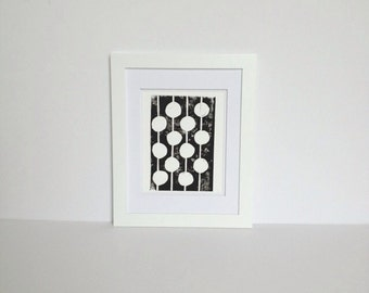 Dots Mid Century Modern Linocut Art Poster Black and White Polka Dots 8x10