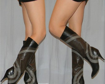 AMAZING vintage 70s 80s leather boots size 5.5 Italian leather lining leather sole
