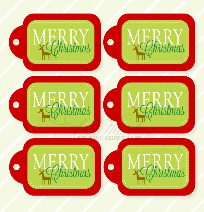 This is a picture of Comprehensive Merry Christmas Tags Printable