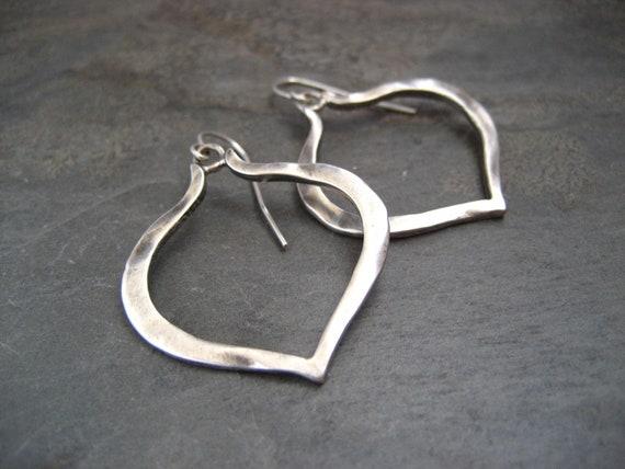 Lotus heart earrings, silver earrings, heart dangle, simple earrings, silver hearts, oxidized earrings, dangle earrings
