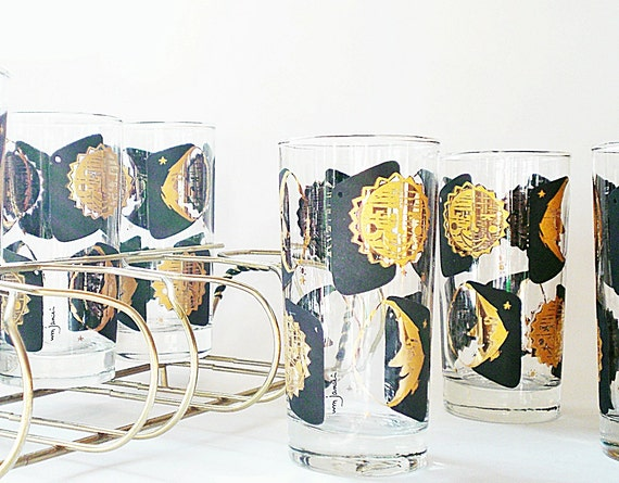 RESERVE FOR FARRA Retro Glass Barware Highball Glasses Tall Cocktail Glasses Beer Glasses Black & Gold