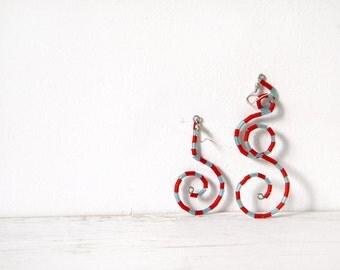 Red blue earrings navy stripes geometric spiral dangle nautical earrings