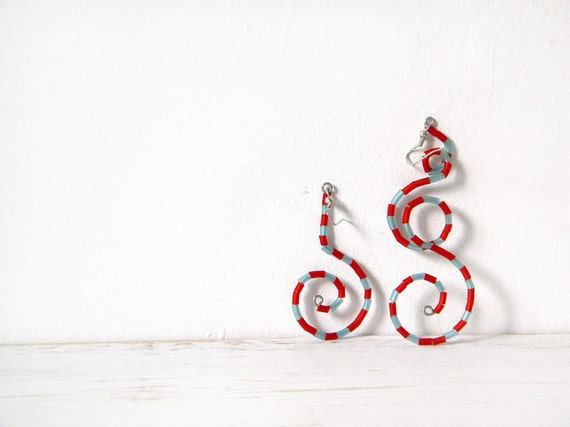 Red blue earrings navy stripes geometric spiral dangle nautical earrings