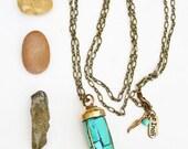 Tibetan Brass and Turquoise horn Tusk pendant long necklace Ethnic necklace Tribal Boho chic unisex Bohemian Llayering necklace