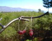 Garnet Hoop Earrings
