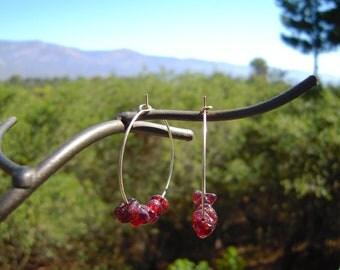 Garnet Hoop Earrings, Bohemian Crystal Earrings